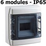 COFFRET ÉTANCHE DE DISTRIBUTION IP65 6 MODULES RAIL DIN PORTE TRANSPARENTE 205X175