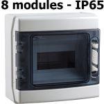 COFFRET ÉTANCHE DE DISTRIBUTION IP65 1X8 MODULES RAIL DIN PORTE OPAQUE 225X205