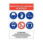 """PANNEAU DE SIGNALISATION RÉGLEMENTAIRE - CONSIGNES DE SÉCURITÉ"""""""""""