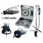 COFFRET PERCEUSE XSPEED 135W + LAMPE + FLEXIBLE + POTENCE + 500 OUTILS MAXICRAFT