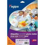 AGIPA 118936 ÉTIQUETTES CD/DVD JET D