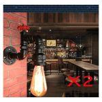 LOT DE 2 LAMPE MURALE VINTAGE E27 APPLIQUE MURALE INDUSTRIELLE CONDUITE D