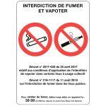 PANNEAU - INTERDIT DE FUMER ET DE VAPOTER - 21X15CM