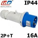 PRISE MÂLE 2P+T 16A IP44