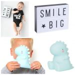 COFFRET T-REX-VEILLEUSE LED T-REX & LIGHT BOX A5 BLEU/BLANC/NOIR A LITTLE LOVELY COMPANY