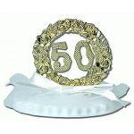 ANNIVERSAIRE DE MARIAGE SUR SOCLE DOUBLE 7,5 CM : 50 ANS OR
