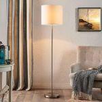 LAMPADAIRE PARSA AVEC ABAT-JOUR EN TEXTILE BLANC