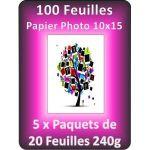 PACK DE 5 X 20 FEUILLES PAPIER PHOTO BRILLANT A6 240G