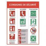 PANNEAU CONSIGNE DE SÉCURITÉ INCENDIE ACCIDENT ÉVACUATION - BLANC ROUGE EN PVC - L30 X H40 X P0,2 CM