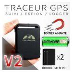 TRACEUR GPS GSM ESPION V2 + DOUBLE BATTERIE + AIMANT PUISSANT