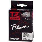 P-TOUCH RUBAN TITREUSE BROTHER - TZE - ÉCRITURE NOIR / FOND BLANC - 12 MM X 8 M - MODÈLE TZE-231