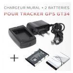 CHARGEUR MURAL POUR TRACEUR ESPION GT34 + 2 BATTERIES