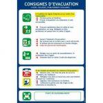 CONSIGNES D'ÉVACUATION - LYCÉES, COLLÈGE, ETABLISSEMENTS SCOLAIRES... - SUPPORT PVC 2MM