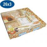 BOITE PIZZA EN CARTON   26X26X3 CM X 100 FIRPLAST