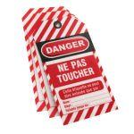 ETIQUETTE NE PAS TOUCHER 75X145 PLASTIFIE OEILLET METAL LOT 10
