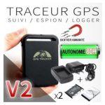 TRACEUR GPS GSM ESPION V2 AIMANTÉ + 2 BATTERIES + CHARGEUR SECTEUR