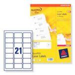 ETIQUETTES AVERY L7160 - IMPRESSION LASER - BLANC - 63.5X38.1 - 250 FEUILLES - BOÎTE DE 5250