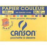PAPIER COULEUR CANSON MI-TEINTES VIVES 160 G/M² MULTICOULEUR - 10 FEUILLES